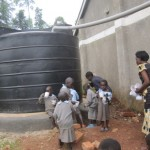 The nursery children drinking the clean water
